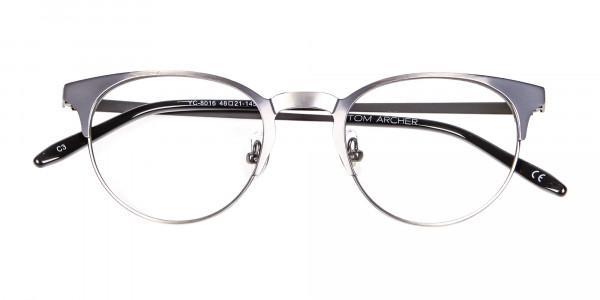 Gunmetal Cat Eye Eyeglasses Men -6