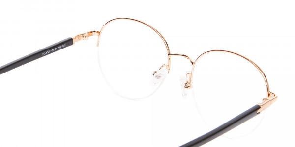 Black & Gold Half-rimmed Designer Glasses UK-5