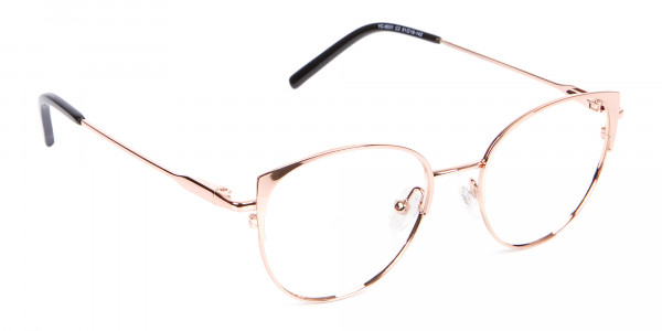 Classic Textured Glasses in Rose-Gold - 2