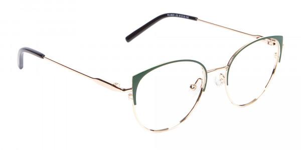 Vintage Inspired Glasses Green and Metal Frame - 2