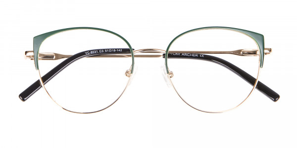 Vintage Inspired Glasses Green and Metal Frame - 6