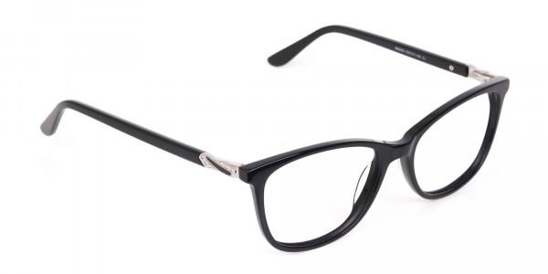 Women Black Acetate Rectangular Glasses Frame-2