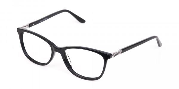 Women Black Acetate Rectangular Glasses Frame-3