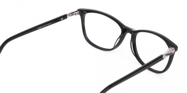 Women Black Acetate Rectangular Glasses Frame-5