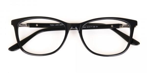 Women Black Acetate Rectangular Glasses Frame-6