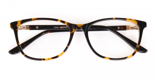Brown Tortoise Rectangular Glasses Women in Acetate-7