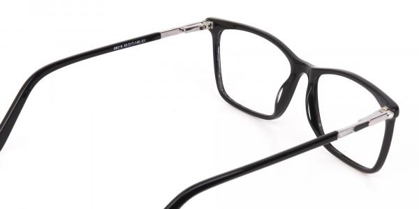 Women Black Rectangle Designer Glasses Frame-5