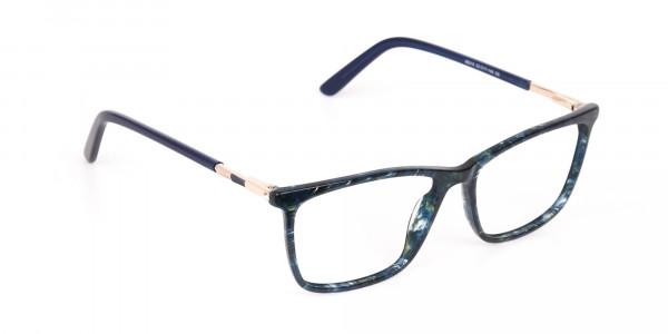 Dark Emerald Green & Royal Blue Eyeglasses Women -2