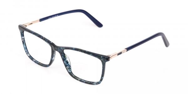 Dark Emerald Green & Royal Blue Eyeglasses Women -3