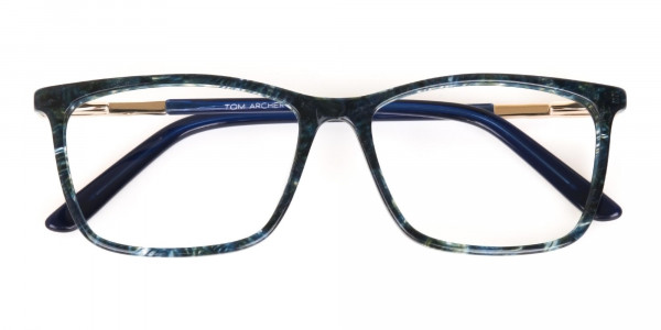 Dark Emerald Green & Royal Blue Eyeglasses Women -7