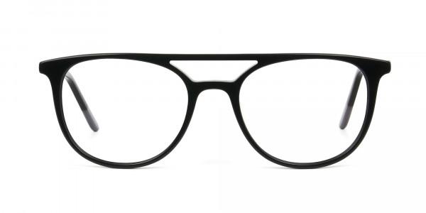 Black Acetate Aviator Spectacles - 1