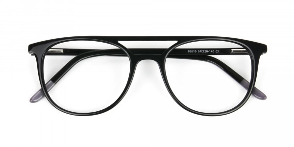 Black Acetate Aviator Spectacles - 6