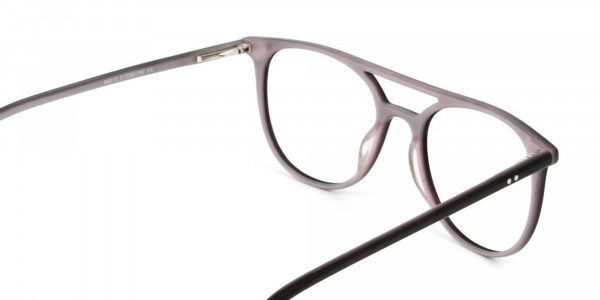 Dark Brown and Silver Lilac Aviator Spectacles - 5
