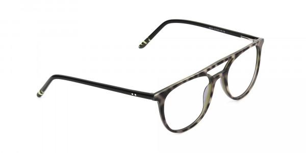 Jungle Green & Grey Tortoise Aviator Spectacles - 2