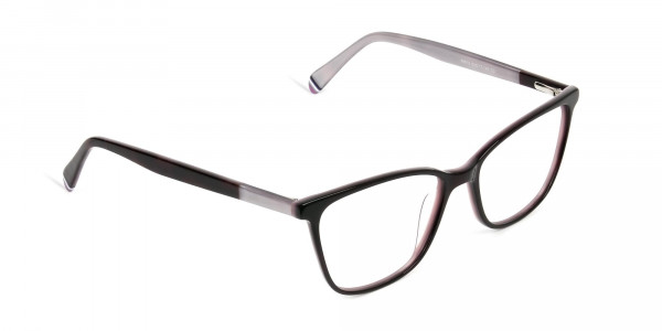 Dark Brown & Silver Lilac Rectangular Spectacles  - 2