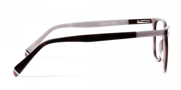 Dark Brown & Silver Lilac Rectangular Spectacles  - 4