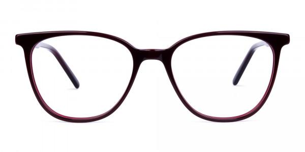 burgundy cat eye glasses -1