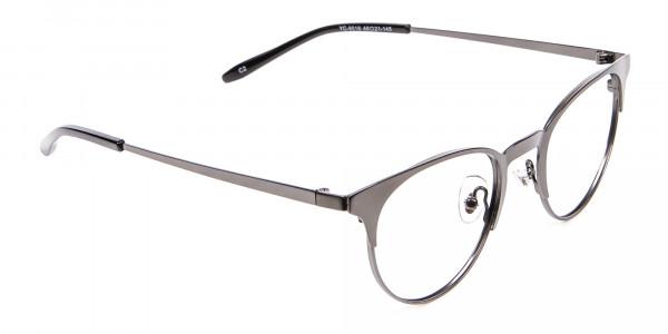 Dark Gunmetal Cat Eye Eyeglasses Men -2