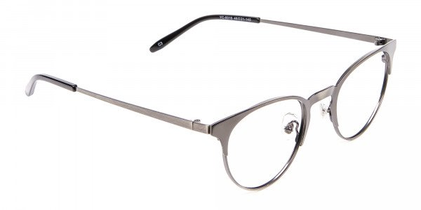 Gunmetal Cat Eye Eyeglasses Men -2