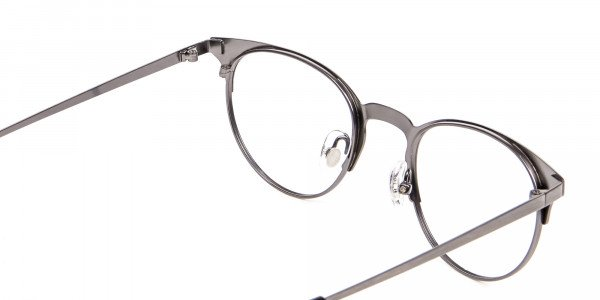 Gunmetal Cat Eye Eyeglasses Men -5
