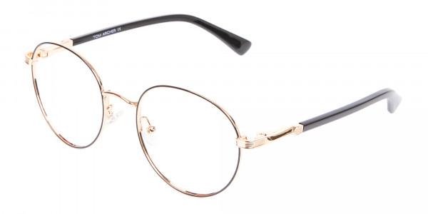 Round Gold Metal Eyeglasses Frame - 3