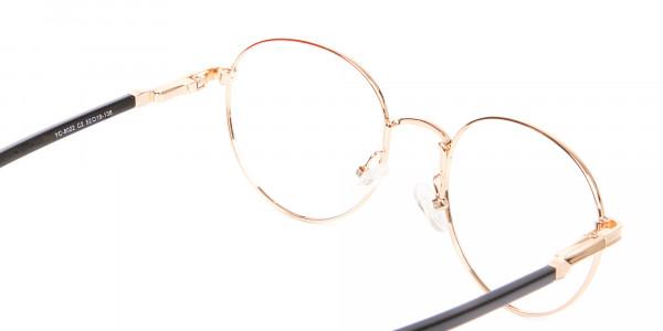Round Gold Metal Eyeglasses Frame - 5
