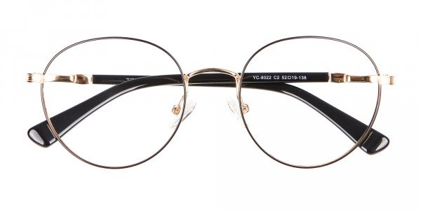 Round Gold Metal Eyeglasses Frame - 6