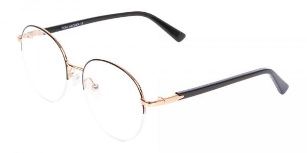 Black & Gold Half-rimmed Designer Glasses UK-3