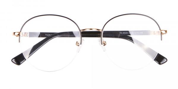 Black & Gold Half-rimmed Designer Glasses UK-6