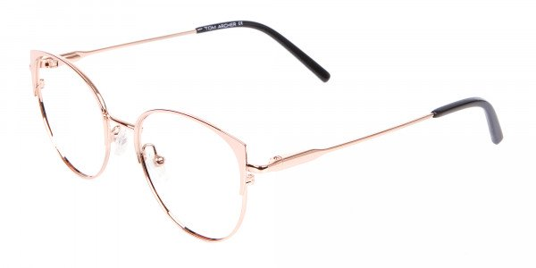 Classic Textured Glasses in Rose-Gold - 3