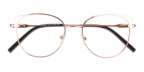 Classic Textured Glasses in Rose-Gold - 6