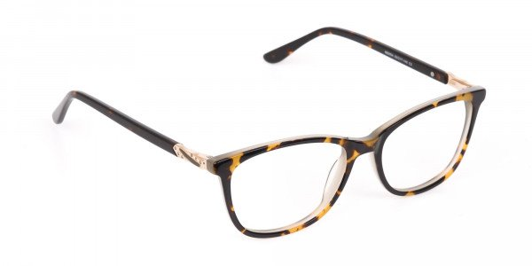 Brown Tortoise Rectangular Glasses Women  in Acetate-2