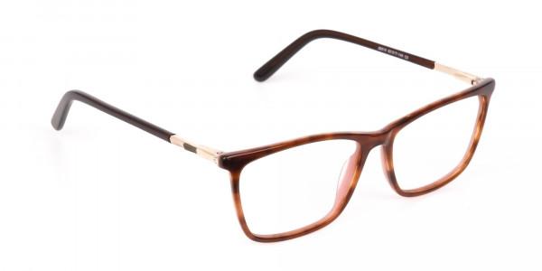 Brown, Tortoise & Nude Pink Rectangle Eyeglasses-2
