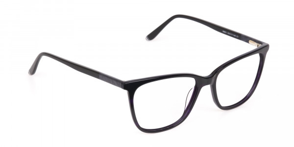 Black Designer Glasses with Purple Stripe Unisex-2