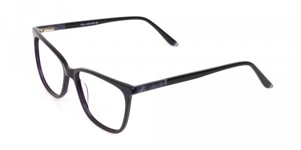 Black Designer Glasses with Purple Stripe Unisex-3