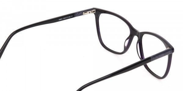 Black Designer Glasses with Purple Stripe Unisex-5
