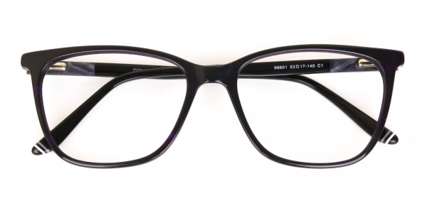 Black Designer Glasses with Purple Stripe Unisex-6