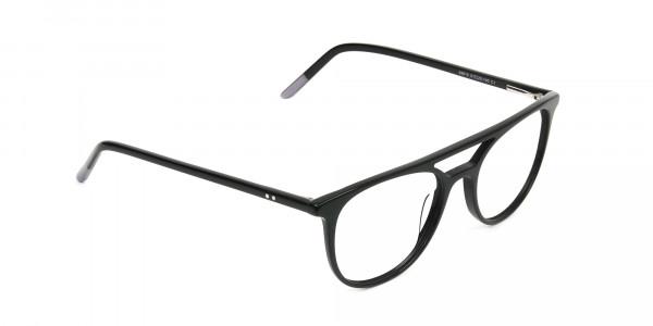 Black Acetate Aviator Spectacles - 2