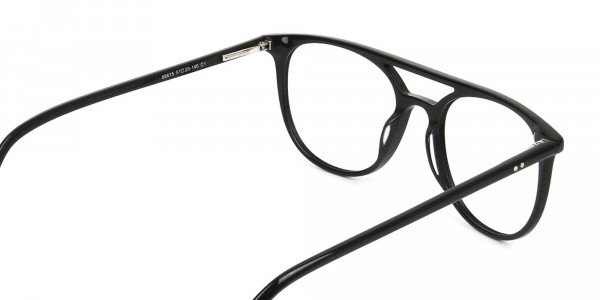 Black Acetate Aviator Spectacles - 5