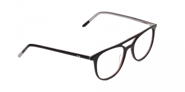 Dark Brown and Silver Lilac Aviator Spectacles - 2