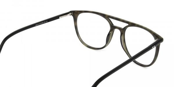 Jungle Green & Grey Tortoise Aviator Spectacles - 5