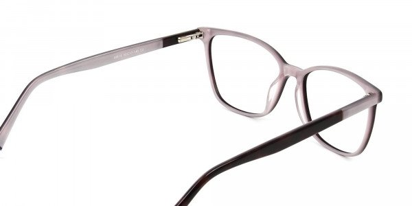 Dark Brown & Silver Lilac Rectangular Spectacles - 5