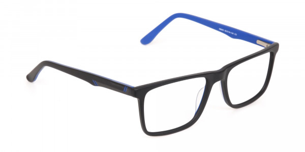 Designer Matte Black & Silver Blue Glasses Unisex-2
