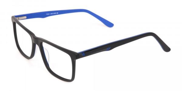Designer Matte Black & Silver Blue Glasses Unisex-3