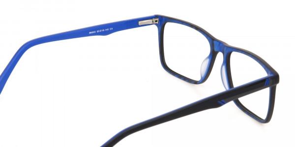 Designer Matte Black & Silver Blue Glasses Unisex-5