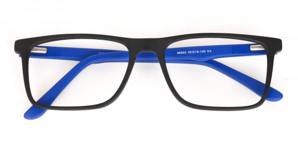 Designer Matte Black & Silver Blue Glasses Unisex-6