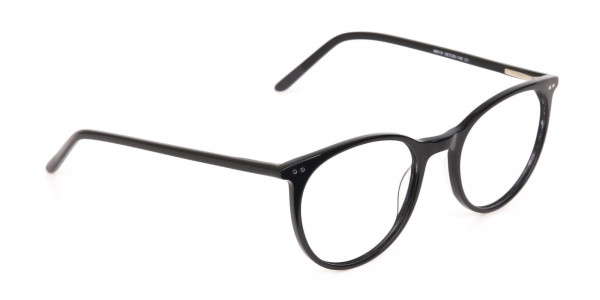 Designer Black Round Acetate Frame For Unisex-2