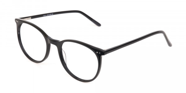 Designer Black Round Acetate Frame For Unisex-3
