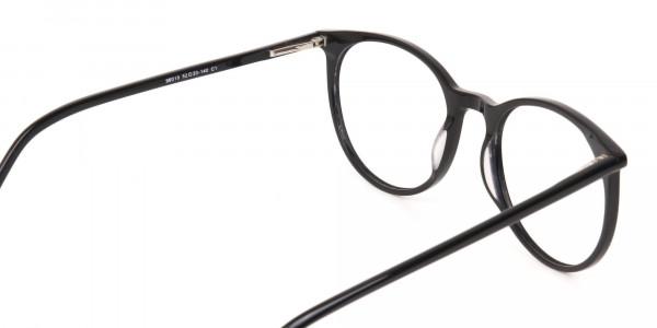 Designer Black Round Acetate Frame For Unisex-5