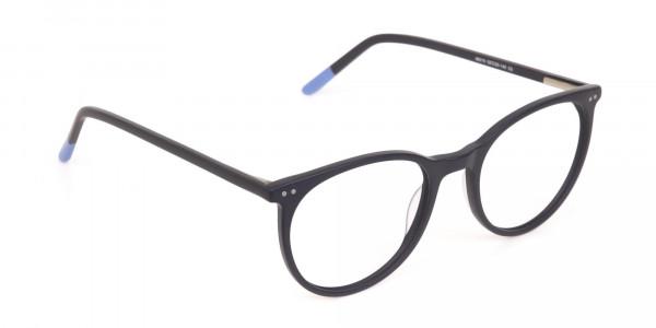 Matte Black Designer Round Eyeglasses Unisex-2